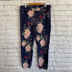 LOVE & LEGEND Blue Floral Skinny Jeans Plus Size
